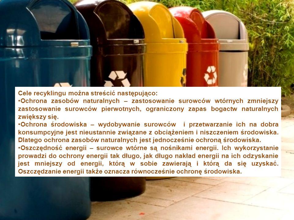 Cele recyklingu można streścić następująco: Ochrona zasobów naturalnych – zastosowanie surowców wtórnych zmniejszy zastosowanie surowców pierwotnych, ograniczony zapas bogactw naturalnych zwiększy się.
