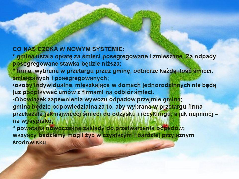 CO NAS CZEKA W NOWYM SYSTEMIE: * gmina ustala opłatę za śmieci posegregowane i zmieszane.