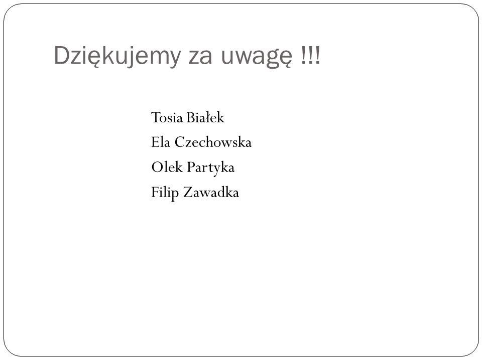 Dziękujemy za uwagę !!! Tosia Białek Ela Czechowska Olek Partyka Filip Zawadka