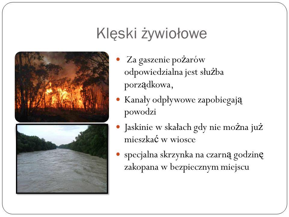 Klęski żywiołowe Za gaszenie po ż arów odpowiedzialna jest słu ż ba porz ą dkowa, Kanały odpływowe zapobiegaj ą powodzi Jaskinie w skałach gdy nie mo