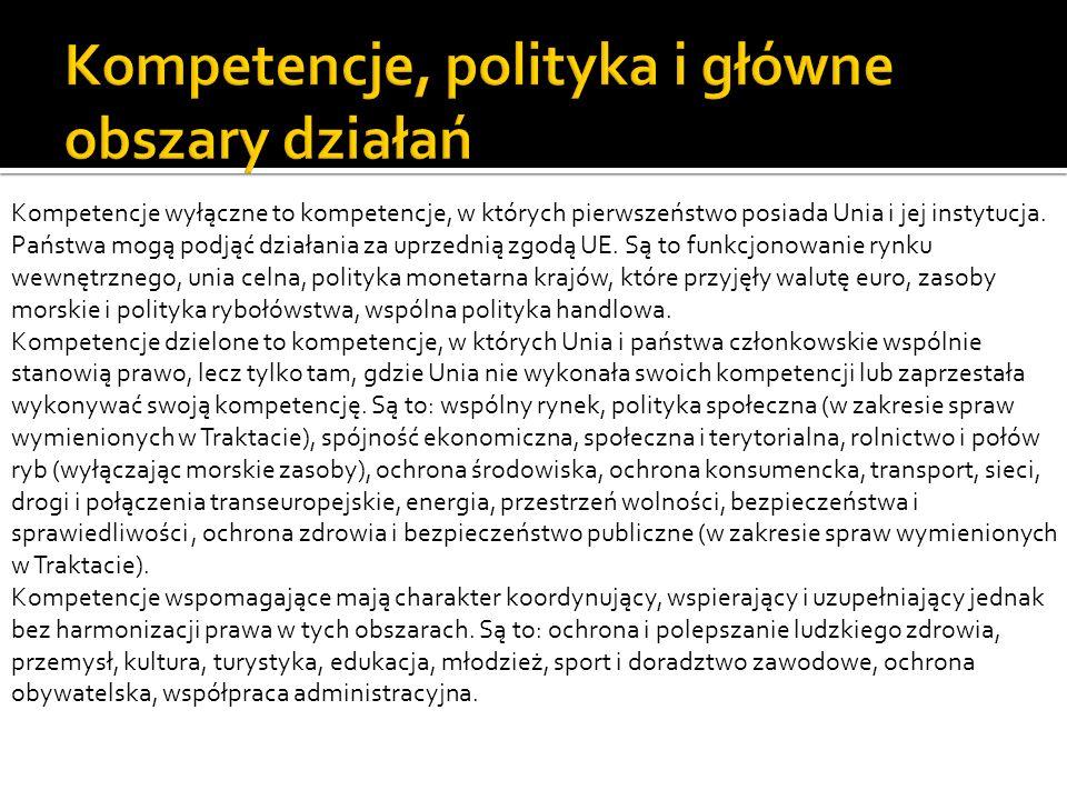 Kompetencje wyłączne to kompetencje, w których pierwszeństwo posiada Unia i jej instytucja. Państwa mogą podjąć działania za uprzednią zgodą UE. Są to