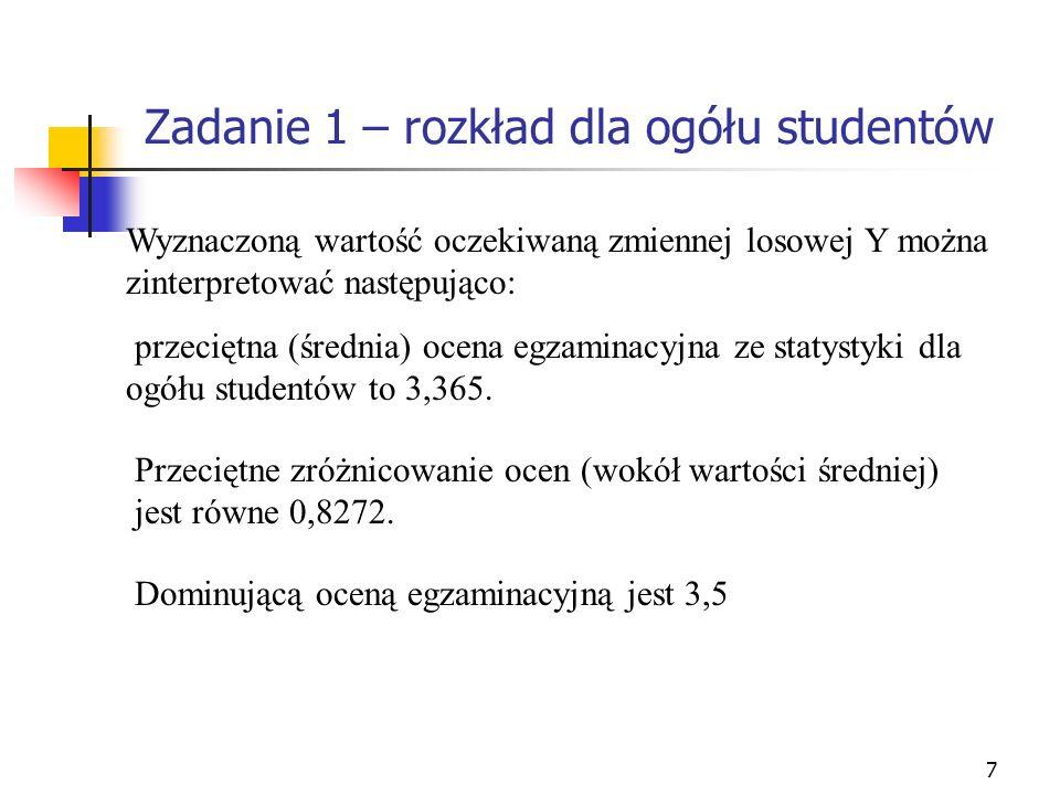 7 Wyznaczoną wartość oczekiwaną zmiennej losowej Y można zinterpretować następująco: przeciętna (średnia) ocena egzaminacyjna ze statystyki dla ogółu