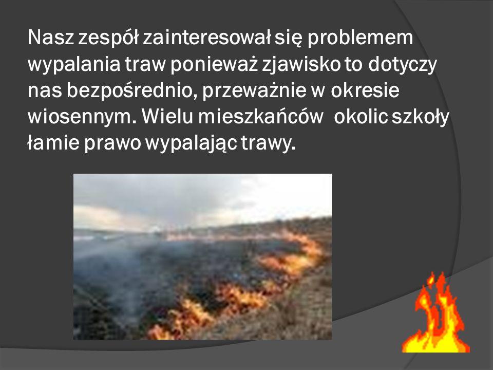 Nasz zespół zainteresował się problemem wypalania traw ponieważ zjawisko to dotyczy nas bezpośrednio, przeważnie w okresie wiosennym. Wielu mieszkańcó
