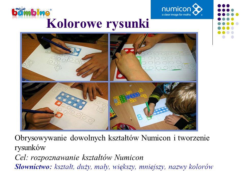 Kolorowe rysunki Obrysowywanie dowolnych kształtów Numicon i tworzenie rysunków Cel: rozpoznawanie kształtów Numicon Słownictwo: kształt, duży, mały,