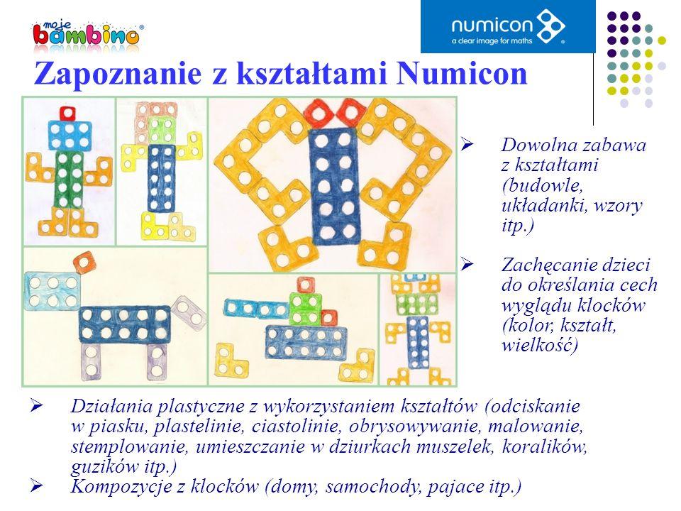 Zapoznanie z kształtami Numicon Dowolna zabawa z kształtami (budowle, układanki, wzory itp.) Zachęcanie dzieci do określania cech wyglądu klocków (kol