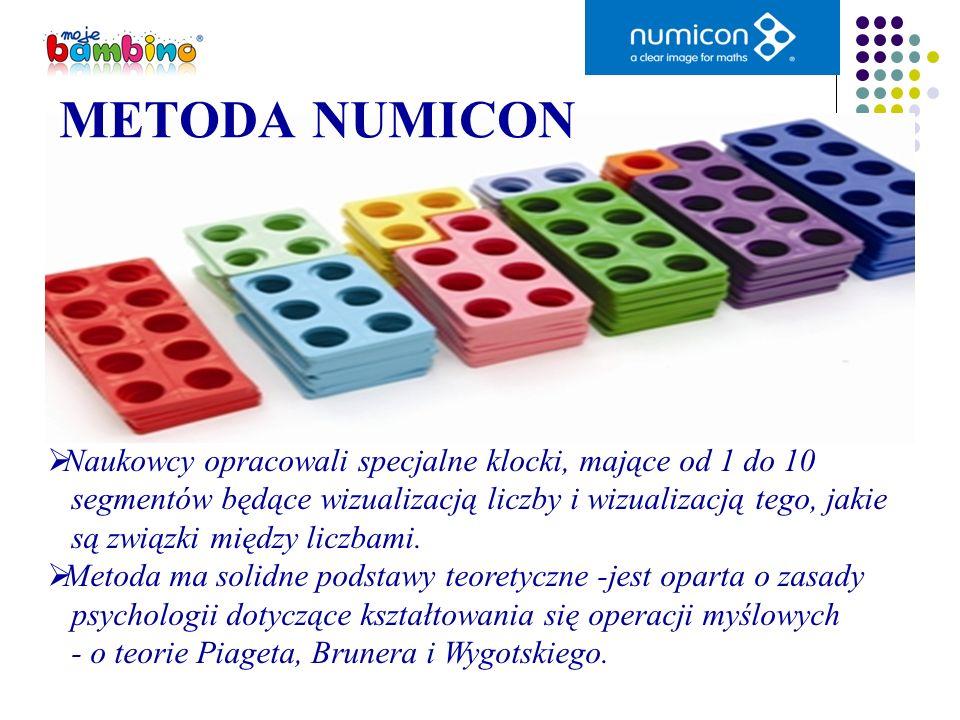METODA NUMICON Naukowcy opracowali specjalne klocki, mające od 1 do 10 segmentów będące wizualizacją liczby i wizualizacją tego, jakie są związki międ