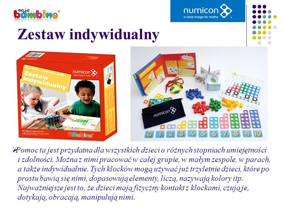 Zestaw indywidualny Pomoc ta jest przydatna dla wszystkich dzieci o różnych stopniach umiejętności i zdolności. Można z nimi pracować w całej grupie,
