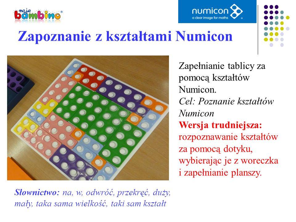 Zapełnianie tablicy za pomocą kształtów Numicon. Cel: Poznanie kształtów Numicon Wersja trudniejsza: rozpoznawanie kształtów za pomocą dotyku, wybiera
