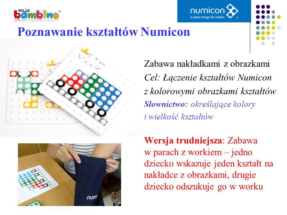 Poznawanie kształtów Numicon Zabawa nakładkami z obrazkami Cel: Łączenie kształtów Numicon z kolorowymi obrazkami kształtów Słownictwo: określające ko