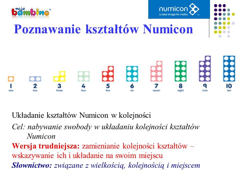 Układanie kształtów Numicon w kolejności Cel: nabywanie swobody w układaniu kolejności kształtów Numicon Wersja trudniejsza: zamienianie kolejności ks