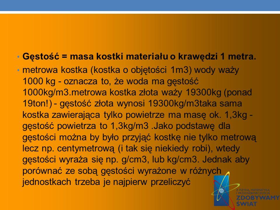 Gęstość = masa kostki materiału o krawędzi 1 metra. metrowa kostka (kostka o objętości 1m3) wody waży 1000 kg - oznacza to, że woda ma gęstość 1000kg/