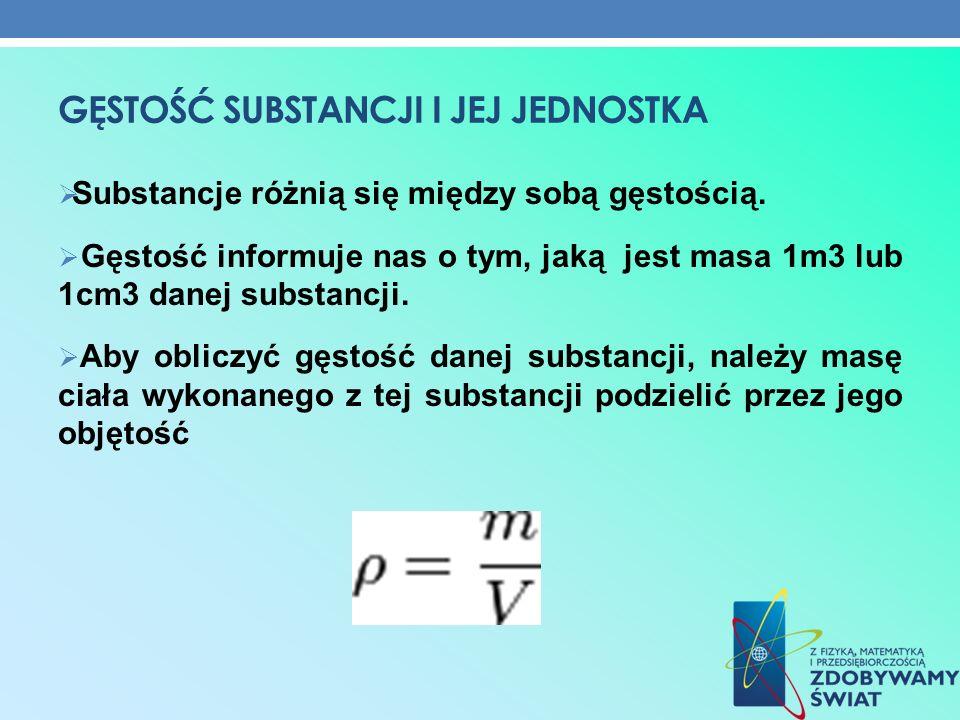 GĘSTOŚĆ SUBSTANCJI I JEJ JEDNOSTKA Substancje różnią się między sobą gęstością. Gęstość informuje nas o tym, jaką jest masa 1m3 lub 1cm3 danej substan
