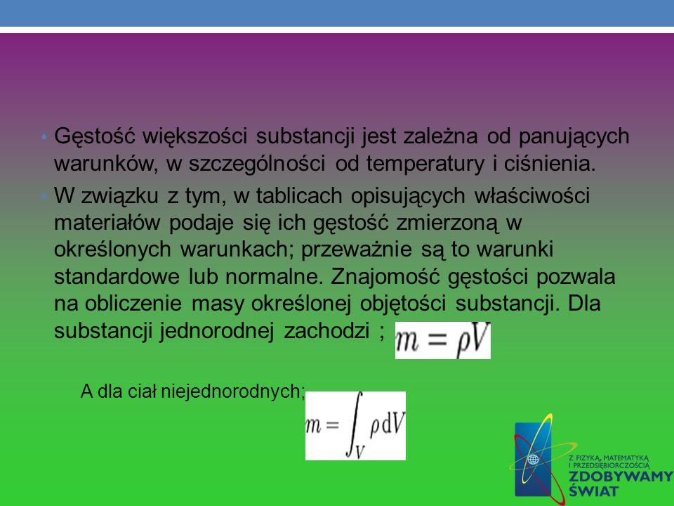 Gęstość większości substancji jest zależna od panujących warunków, w szczególności od temperatury i ciśnienia. W związku z tym, w tablicach opisującyc
