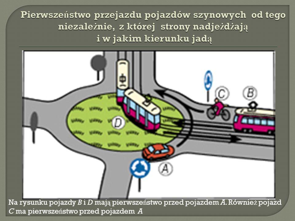 Na rysunku pojazdy B i D maj ą pierwsze ń stwo przed pojazdem A.