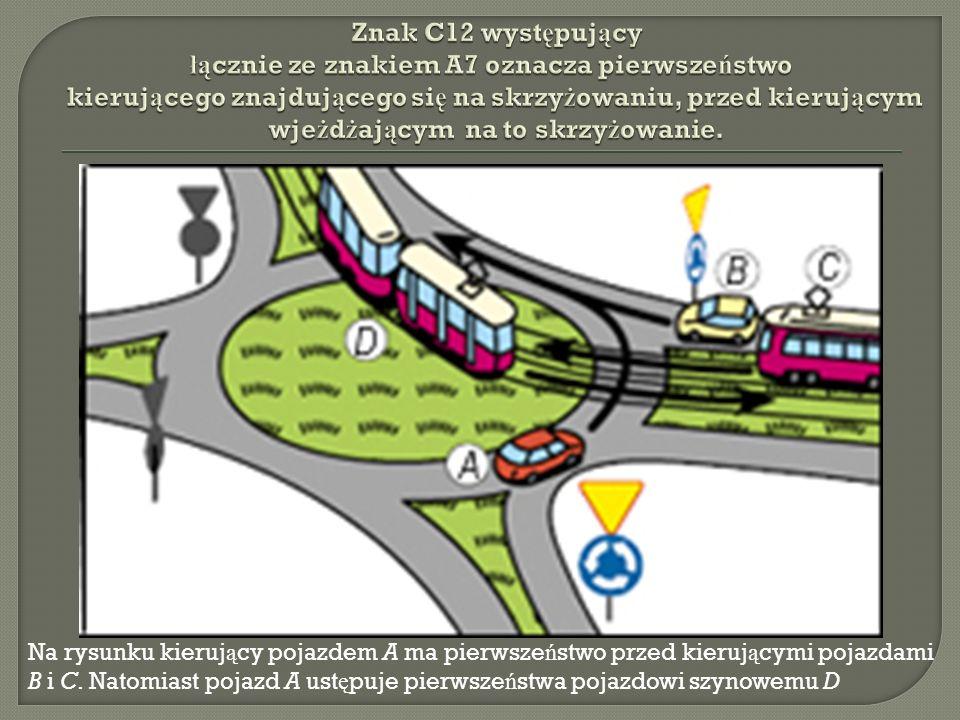 Na rysunku kieruj ą cy pojazdem A ma pierwsze ń stwo przed kieruj ą cymi pojazdami B i C.