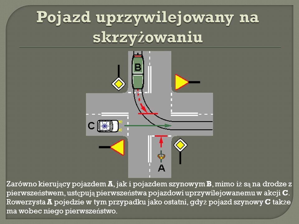 Zarówno kieruj ą cy pojazdem A, jak i pojazdem szynowym B, mimo i ż s ą na drodze z pierwsze ń stwem, ust ę puj ą pierwsze ń stwa pojazdowi uprzywilejowanemu w akcji C.