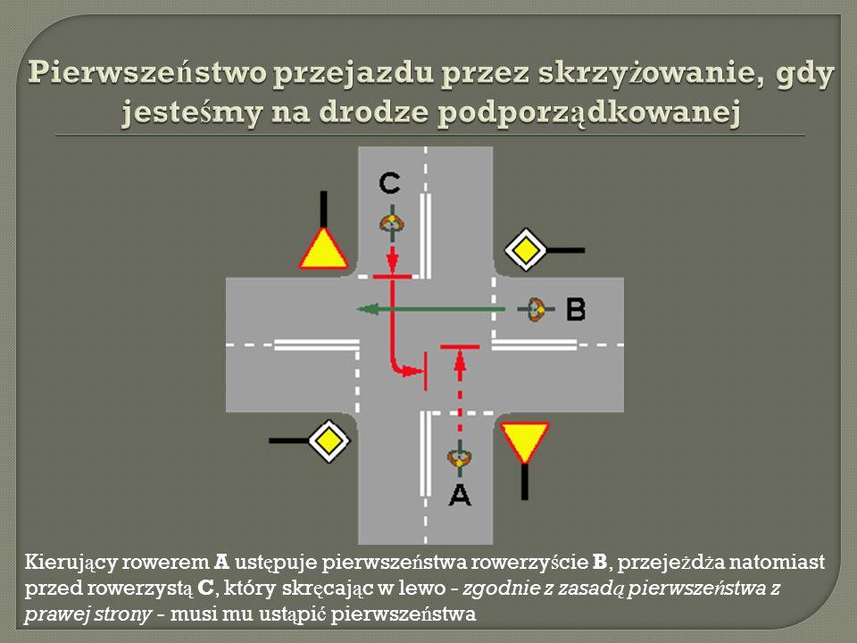 Kieruj ą cy rowerem A ust ę puje pierwsze ń stwa rowerzy ś cie B, przeje ż d ż a natomiast przed rowerzyst ą C, który skr ę caj ą c w lewo - zgodnie z zasad ą pierwsze ń stwa z prawej strony - musi mu ust ą pi ć pierwsze ń stwa