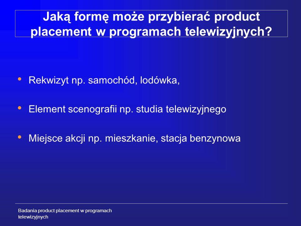 Badania product placement w programach telewizyjnych Specyfika product placement w kontekście badań Subtelny charakter oddziaływania Nadprogowość - stosunkowo słaby bodziec – w przeciwieństwie do reklamy Ograniczony stopień ekspozycji marki Zwykle równoległe oddziaływanie innych bodźców np.