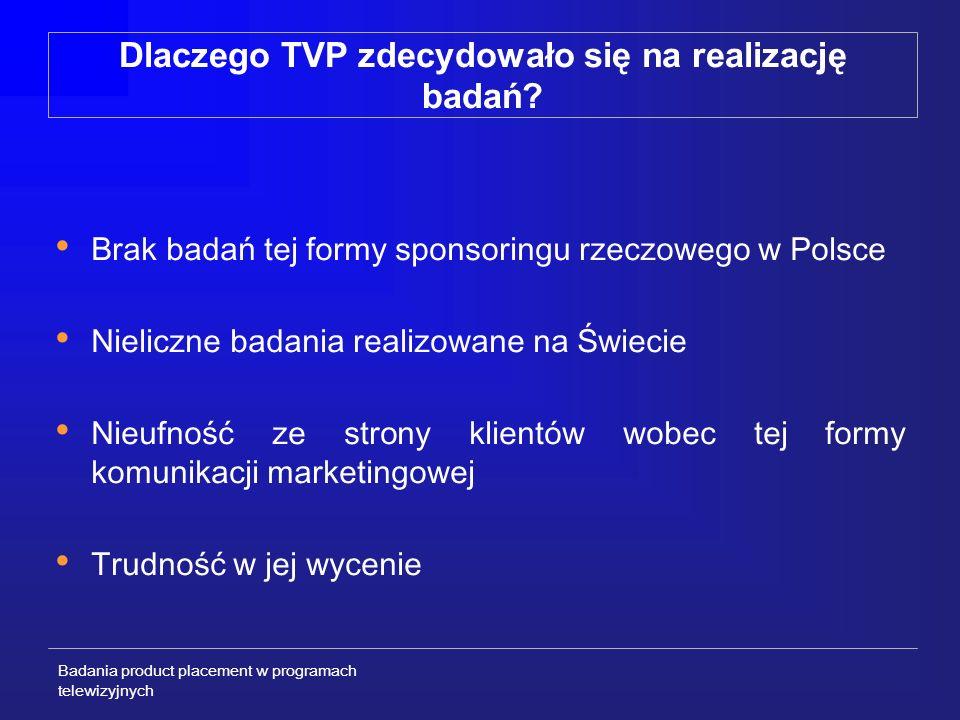 Badania product placement w programach telewizyjnych METODOLOGIA I PRÓBA (2/4) Badanie miało charakter eksperymentalny – przebiegało według następującego schematu: GRUPA I Fragment programu nadawanego od września 2002 sponsoring rzeczowy + billboard sponsorski (N=75) GRUPA II Fragment programu nadawanego od września 2002 sponsoring rzeczowy (N=75) GRUPA III Fragment programu nadawanego przed wrześniem 2002 billboard sponsorski (N=75) GRUPA IV Fragment programu nadawanego przed wrześniem 2002 (pozbawiony działań promocyjnych) grupa kontrolna (N=75)