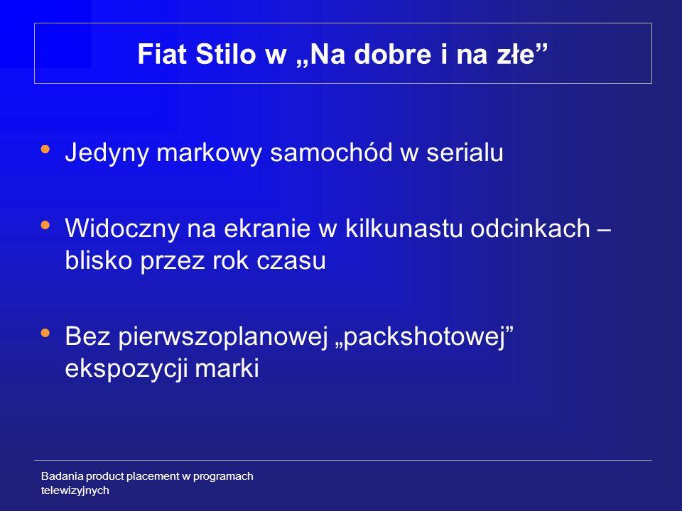 Badania product placement w programach telewizyjnych SCHEMAT REALIZACJI CAŁEGO PROJEKTU BADAWCZEGO 11 – 13 KWIETNIA 2002 21 – 24 KWIETNIA 2002 14, 21 KWIETNIA 2002 Pierwszy pomiar - PRETEST Trzeci pomiar – POST-TEST 2 Emisja dwóch pierwszych odcinków serialu z Fiatem Stilo Drugi pomiar – POST-TEST 1 Działania sponsorskie – obecność Fiata Stilo w serialu (z różnym natężeniem) 2 – 6 MARCA 2003 2002 / 2003