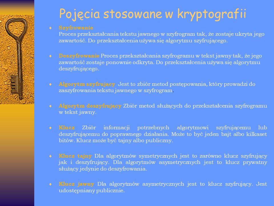 Pojęcia stosowane w kryptografii Szyfrowanie Proces przekształcania tekstu jawnego w szyfrogram tak, że zostaje ukryta jego zawartość. Do przekształce