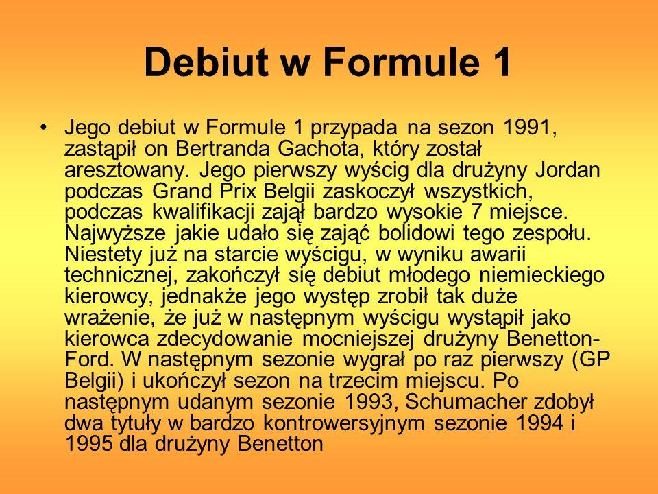 Debiut w Formule 1 Jego debiut w Formule 1 przypada na sezon 1991, zastąpił on Bertranda Gachota, który został aresztowany.