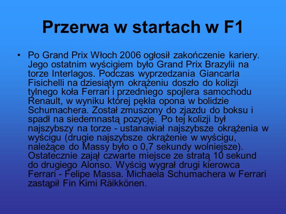 Przerwa w startach w F1 Po Grand Prix Włoch 2006 ogłosił zakończenie kariery.