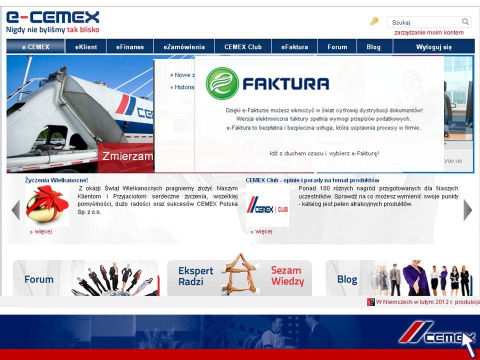 Serwis e-CEMEX jest ciągle rozwijany i doskonalony. Bazując na dostosowaniu funkcjonalności do oczekiwań klientów wzbogaciliśmy nasz serwis o: Wdrożen