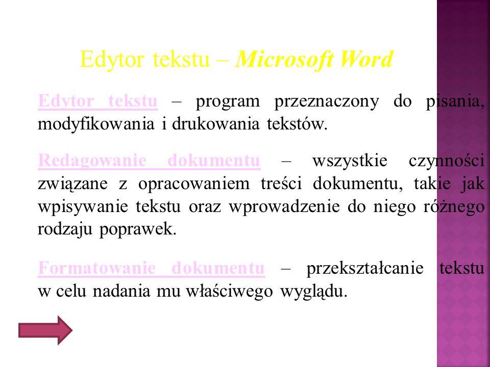 Edytor tekstu – Microsoft Word Edytor tekstu – program przeznaczony do pisania, modyfikowania i drukowania tekstów. Redagowanie dokumentu – wszystkie