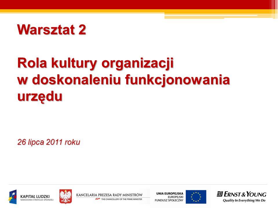 Warsztat 2 Rola kultury organizacji w doskonaleniu funkcjonowania urzędu 26 lipca 2011 roku