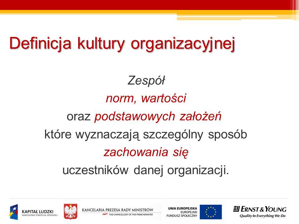 Zespół norm, wartości oraz podstawowych założeń, które wyznaczają szczególny sposób zachowania się uczestników danej organizacji. Definicja kultury or