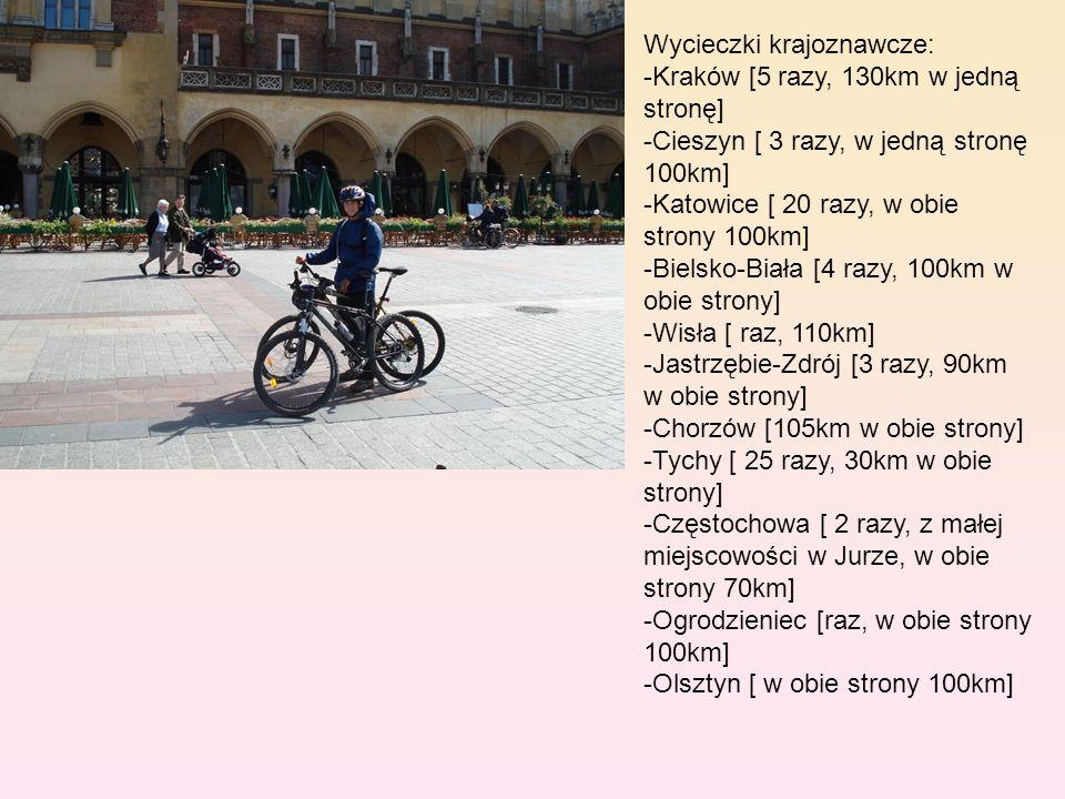 Wycieczki krajoznawcze: -Kraków [5 razy, 130km w jedną stronę] -Cieszyn [ 3 razy, w jedną stronę 100km] -Katowice [ 20 razy, w obie strony 100km] -Bielsko-Biała [4 razy, 100km w obie strony] -Wisła [ raz, 110km] -Jastrzębie-Zdrój [3 razy, 90km w obie strony] -Chorzów [105km w obie strony] -Tychy [ 25 razy, 30km w obie strony] -Częstochowa [ 2 razy, z małej miejscowości w Jurze, w obie strony 70km] -Ogrodzieniec [raz, w obie strony 100km] -Olsztyn [ w obie strony 100km]