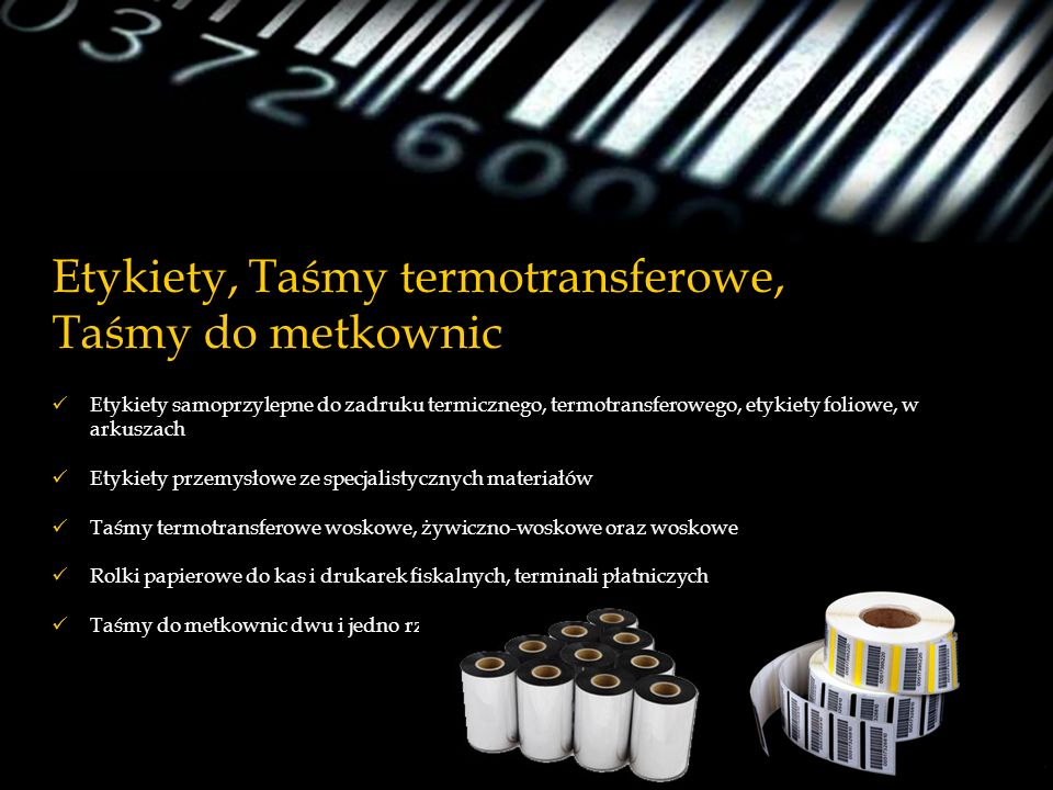 Etykiety, Taśmy termotransferowe, Taśmy do metkownic Etykiety samoprzylepne do zadruku termicznego, termotransferowego, etykiety foliowe, w arkuszach