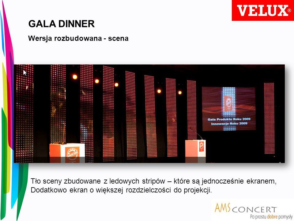 GALA DINNER Wersja rozbudowana - scena Tło sceny zbudowane z ledowych stripów – które są jednocześnie ekranem, Dodatkowo ekran o większej rozdzielczoś