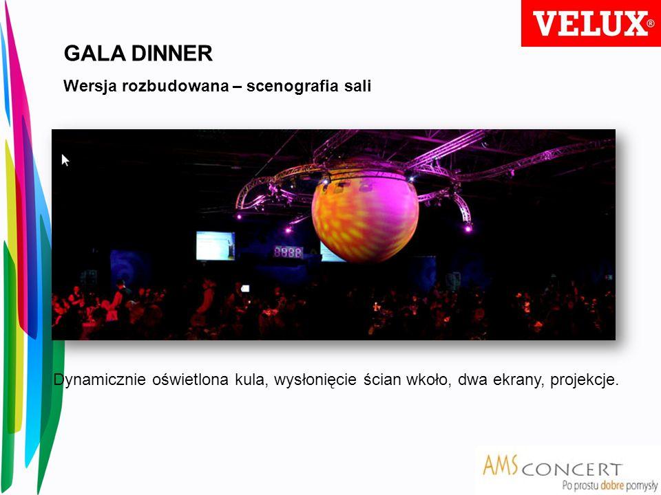GALA DINNER Wersja rozbudowana – scenografia sali Dynamicznie oświetlona kula, wysłonięcie ścian wkoło, dwa ekrany, projekcje.