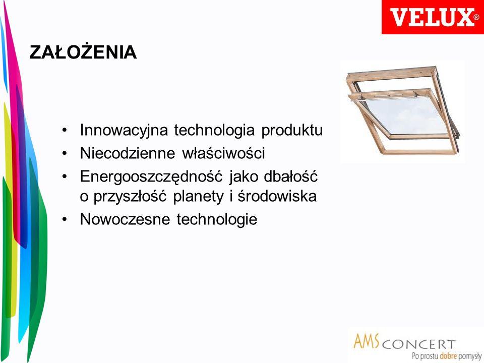 ZAŁOŻENIA Innowacyjna technologia produktu Niecodzienne właściwości Energooszczędność jako dbałość o przyszłość planety i środowiska Nowoczesne techno