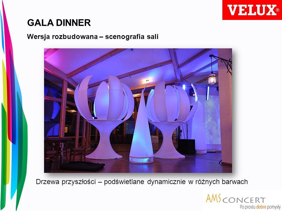 GALA DINNER Wersja rozbudowana – scenografia sali Drzewa przyszłości – podświetlane dynamicznie w różnych barwach