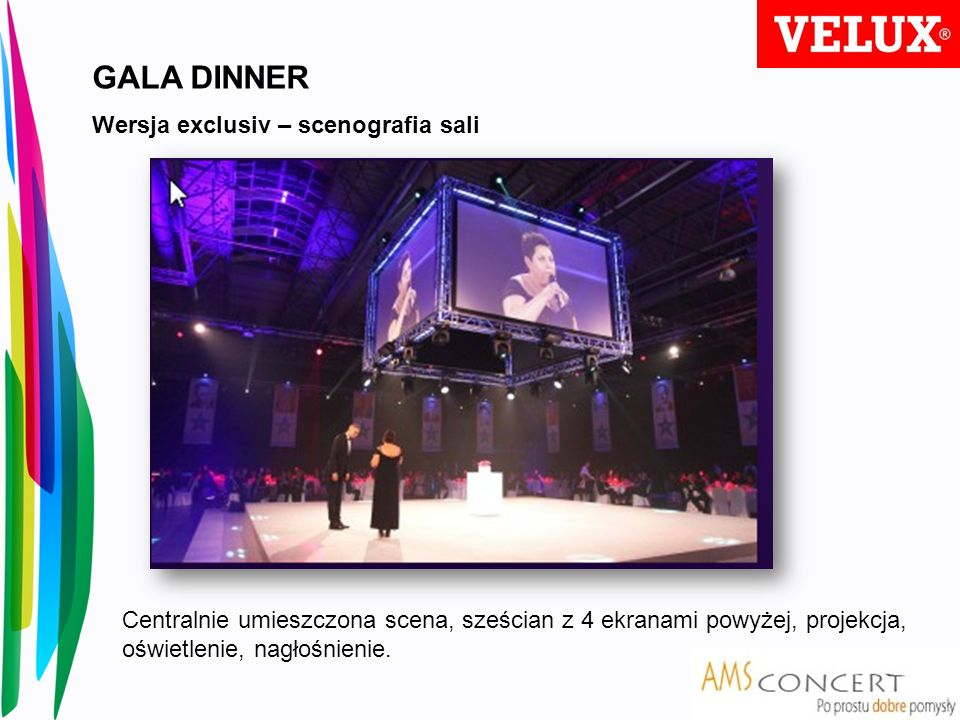 GALA DINNER Wersja exclusiv – scenografia sali Centralnie umieszczona scena, sześcian z 4 ekranami powyżej, projekcja, oświetlenie, nagłośnienie.