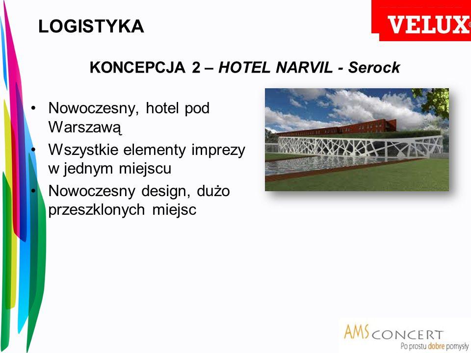 LOGISTYKA Nowoczesny, hotel pod Warszawą Wszystkie elementy imprezy w jednym miejscu Nowoczesny design, dużo przeszklonych miejsc KONCEPCJA 2 – HOTEL