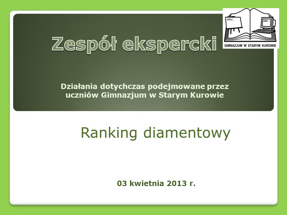 Ranking diamentowy 03 kwietnia 2013 r. Działania dotychczas podejmowane przez uczniów Gimnazjum w Starym Kurowie