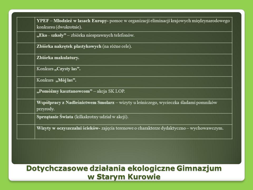 Dotychczasowe działania ekologiczne Gimnazjum w Starym Kurowie YPEF – Młodzież w lasach Europy- pomoc w organizacji eliminacji krajowych międzynarodow