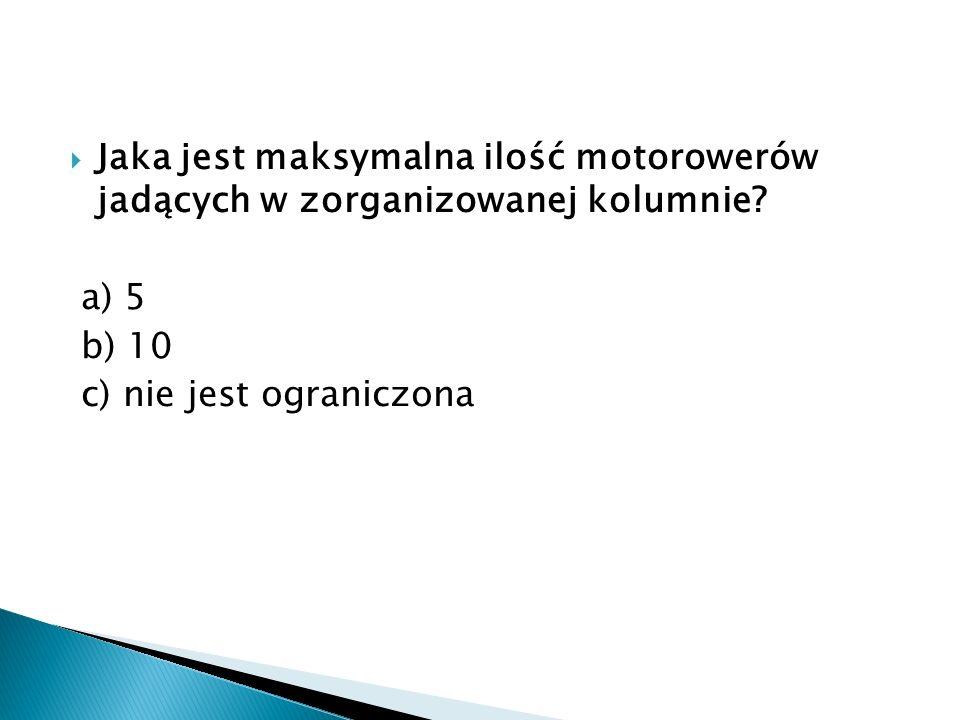 Jaka jest maksymalna ilość motorowerów jadących w zorganizowanej kolumnie.