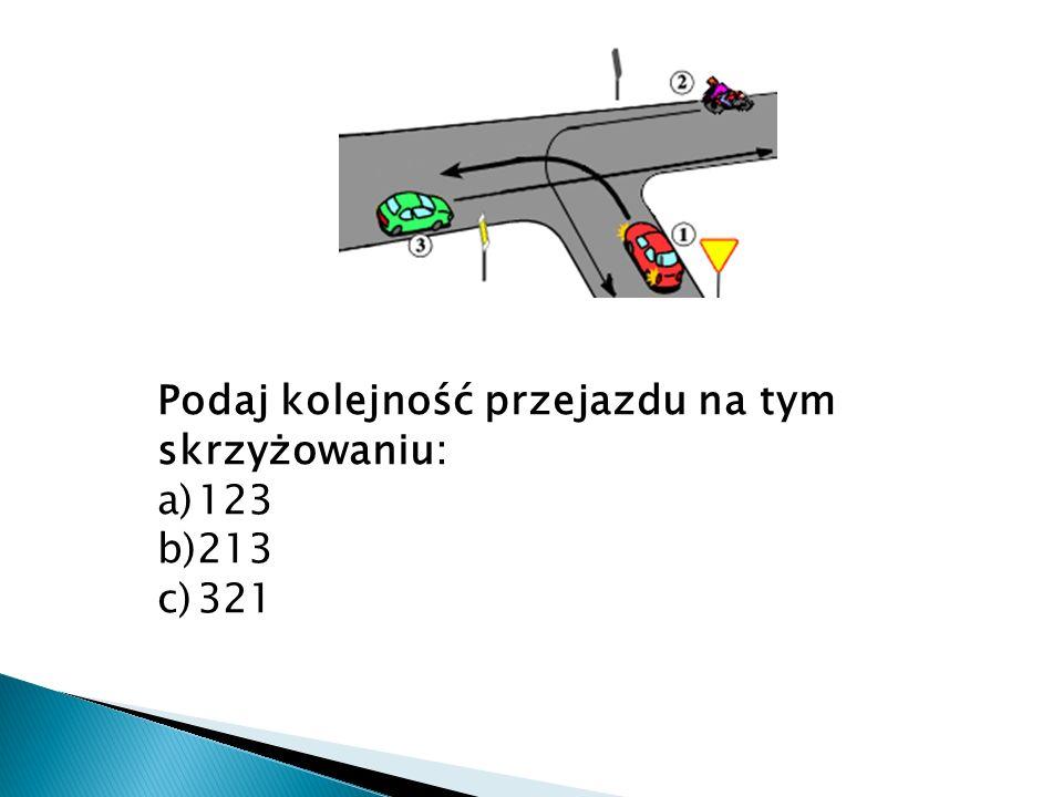 Podaj kolejność przejazdu na tym skrzyżowaniu: a)123 b)213 c)321