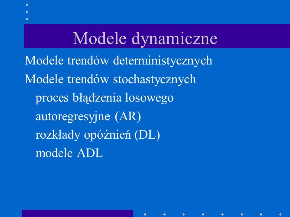 Modele dynamiczne Modele trendów deterministycznych Modele trendów stochastycznych proces błądzenia losowego autoregresyjne (AR) rozkłady opóźnień (DL