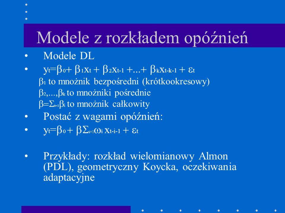 Modele z rozkładem opóźnień Modele DL y t = 0 1 x t 2 x t-1 k x t-k-1 t 1 to mnożnik bezpośredni (krótkookresowy) 2 k to mnożniki pośrednie i i to mno