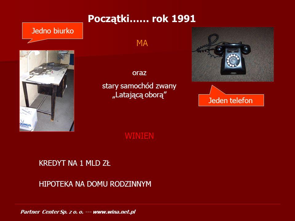 Partner Center Sp. z o. o. --- www.wina.net.pl Zysk Partner Center w latach 1996-2004