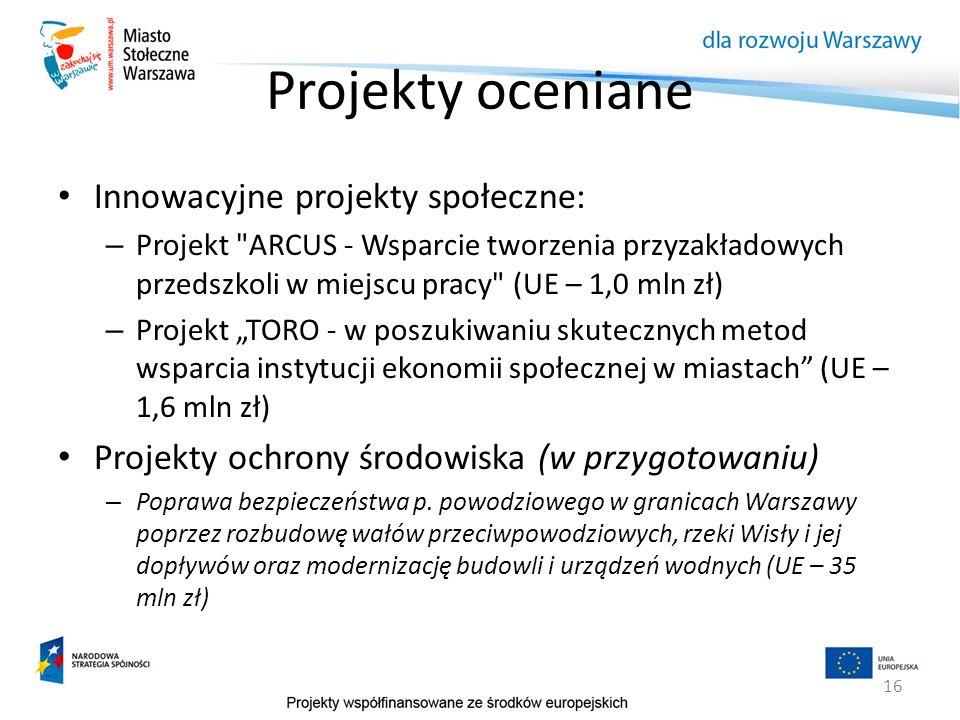 16 Projekty oceniane Innowacyjne projekty społeczne: – Projekt