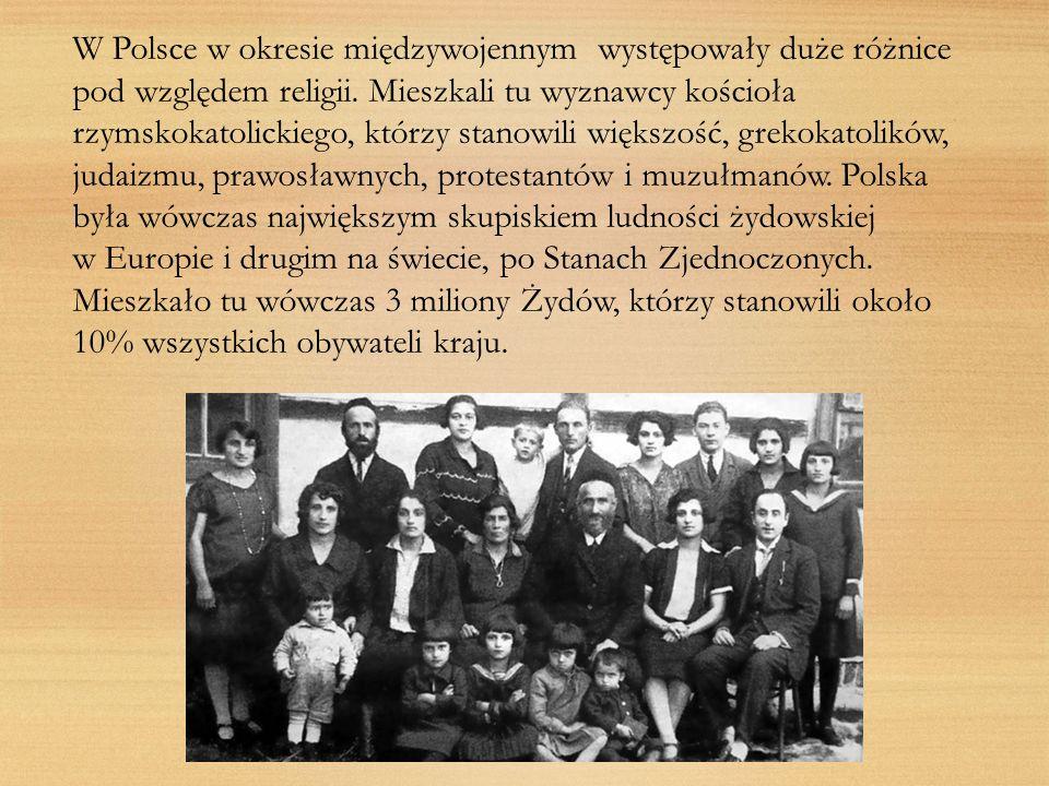 W Polsce w okresie międzywojennym występowały duże różnice pod względem religii. Mieszkali tu wyznawcy kościoła rzymskokatolickiego, którzy stanowili