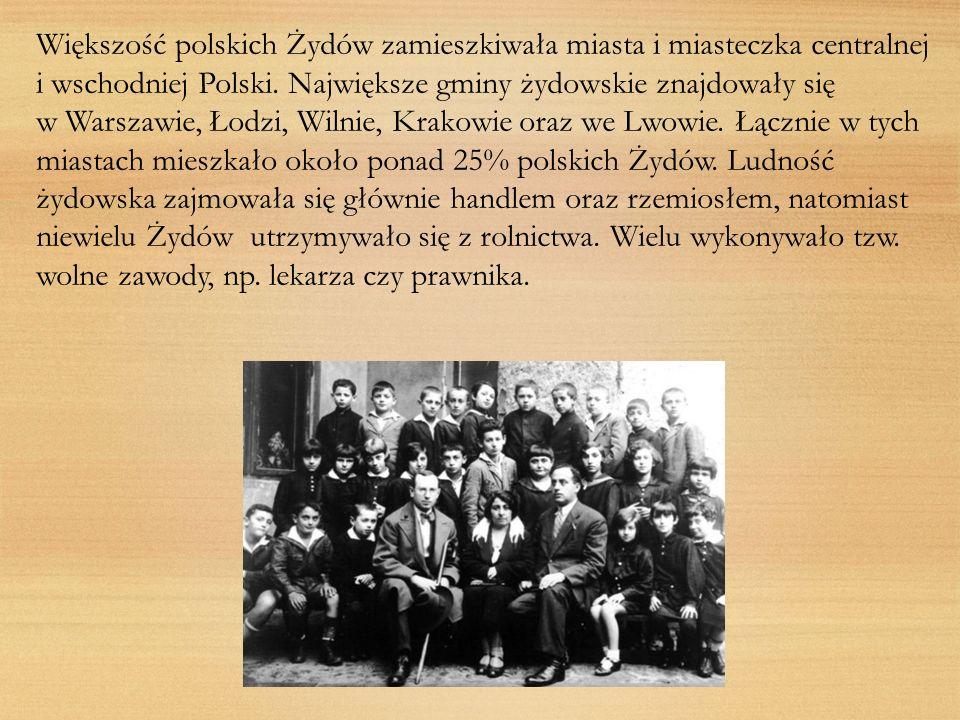 Większość polskich Żydów zamieszkiwała miasta i miasteczka centralnej i wschodniej Polski. Największe gminy żydowskie znajdowały się w Warszawie, Łodz