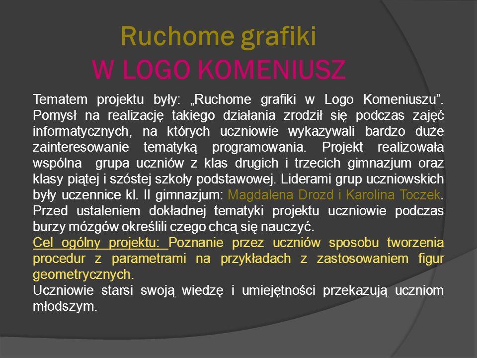 Ruchome grafiki W LOGO KOMENIUSZ Tematem projektu były: Ruchome grafiki w Logo Komeniuszu. Pomysł na realizację takiego działania zrodził się podczas